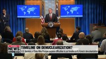 Pompeo explains difficulties to put timeline on N. Korea's denuclearization