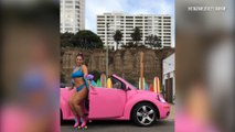 Ashley Graham Poses Next to Pink Convertible Bug
