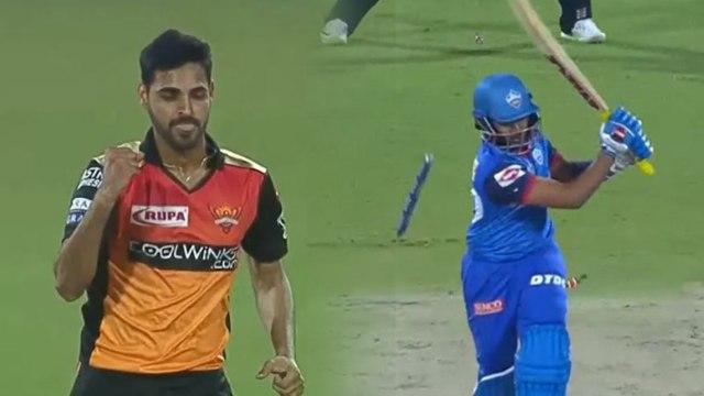 IPL 2019 SRH vs DC: Bhuvneshwar Kumar strikes, Prithvi Shaw departs early | वनइंडिया हिंदी