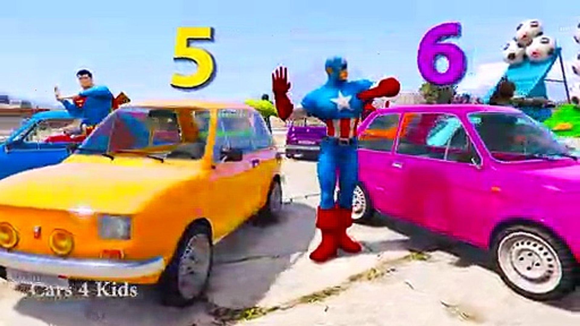 تعلم الألوان مع الشاحنات والسيارات للأطفال - تعلم الأرقام في اللون سبايدرمان الكرتون التعلم الفيديو