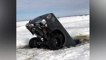 Worst Parking Spot Ever: Truck Sinks Into Frozen Lake