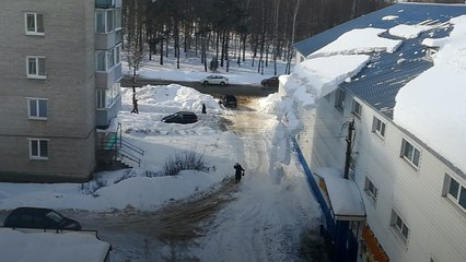 Avalanche Of Snow Falls From Roof Onto Woman