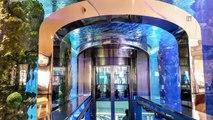 Une énorme fuite d'eau dans un gigantesque aquarium d'un centre commercial