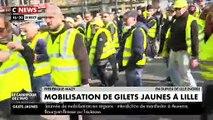 Gilets Jaunes - Nouvelles violences contre des équipes de télé : Des journalistes de CNews se font éjecter en direct du cortège à Lille