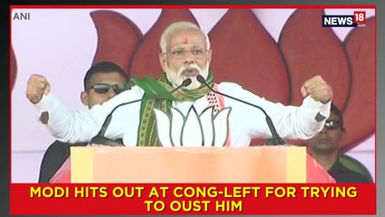 Modi Hits Out At Cong-Left For Trying To Oust Him