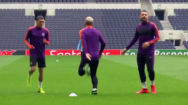 Manchester City training session ahead of their UCL quarter-final against Tottenham
