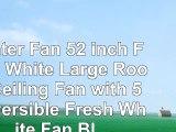 Hunter Fan 52 inch Fresh White Large Room Ceiling Fan with 5 Reversible Fresh White Fan