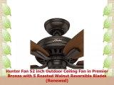 Hunter Fan 52 inch Outdoor Ceiling Fan in Premier Bronze with 5 Roasted Walnut Reversible