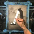 Artist Paints Black and White Horror Themed Painting