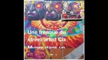 Bordeaux: Cix Mugre, artiste Street Art, de renom peint une fresque dans un lycée