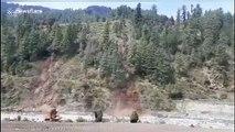 Forested hillside melts away during landslide in north India