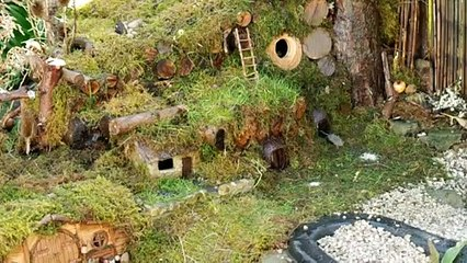 George the Mouse in a Log pile House - mouse village