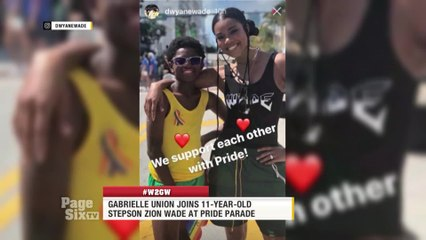 It's #WayToGoWednesday, and we're shouting out @itsgabrielleu for supporting her stepson Zion Wade at the @MiamiBeachPride parade! Tune in to #PageSixTV for all the deets! #W2GW