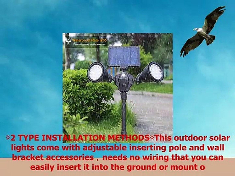 Outdoor Solar Spotlights Newest 36 LED Double Head Security Light 5200 mAh Batteries