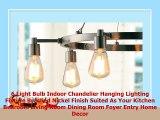 6 Light Bulb Indoor Chandelier Hanging Lighting Fixture Brushed Nickel Finish Suited As
