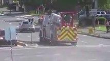 Le virage impressionnant pris par un camion de pompier à 2 chauffeurs