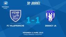 J30 : FC Villefranche B. - JA Drancy (1-1), le résumé