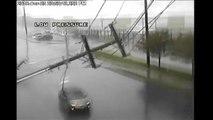 Storm slams utility pole into moving car near Seattle