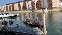 Escale de la toue sablière au port du Mans samedi 13 avril