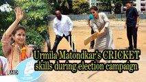 Urmila Matondkar shows her cricket skill during election campaign
