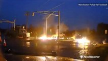 Power line snaps in half igniting into raging fire
