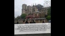 Incendie à Notre-Dame de Paris: De nombreuses personnes se recueillent au pied de la cathédrale au lendemain de la catastrophe