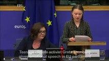 Greta Thunberg gives emotional speech at EU Parliament