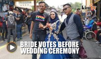 Bride stops to vote enroute to wedding ceremony
