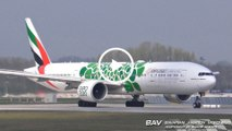 "Boeing 777-300ER - Emirates ""green EXPO Dubai 2020 livery"" A6-EPU - takeoff at Munich Airport [2160p25]"