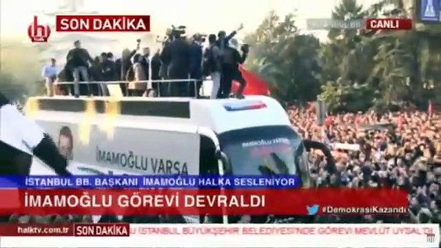 Ekrem İmamoğlu belediye önünden halka seslendi