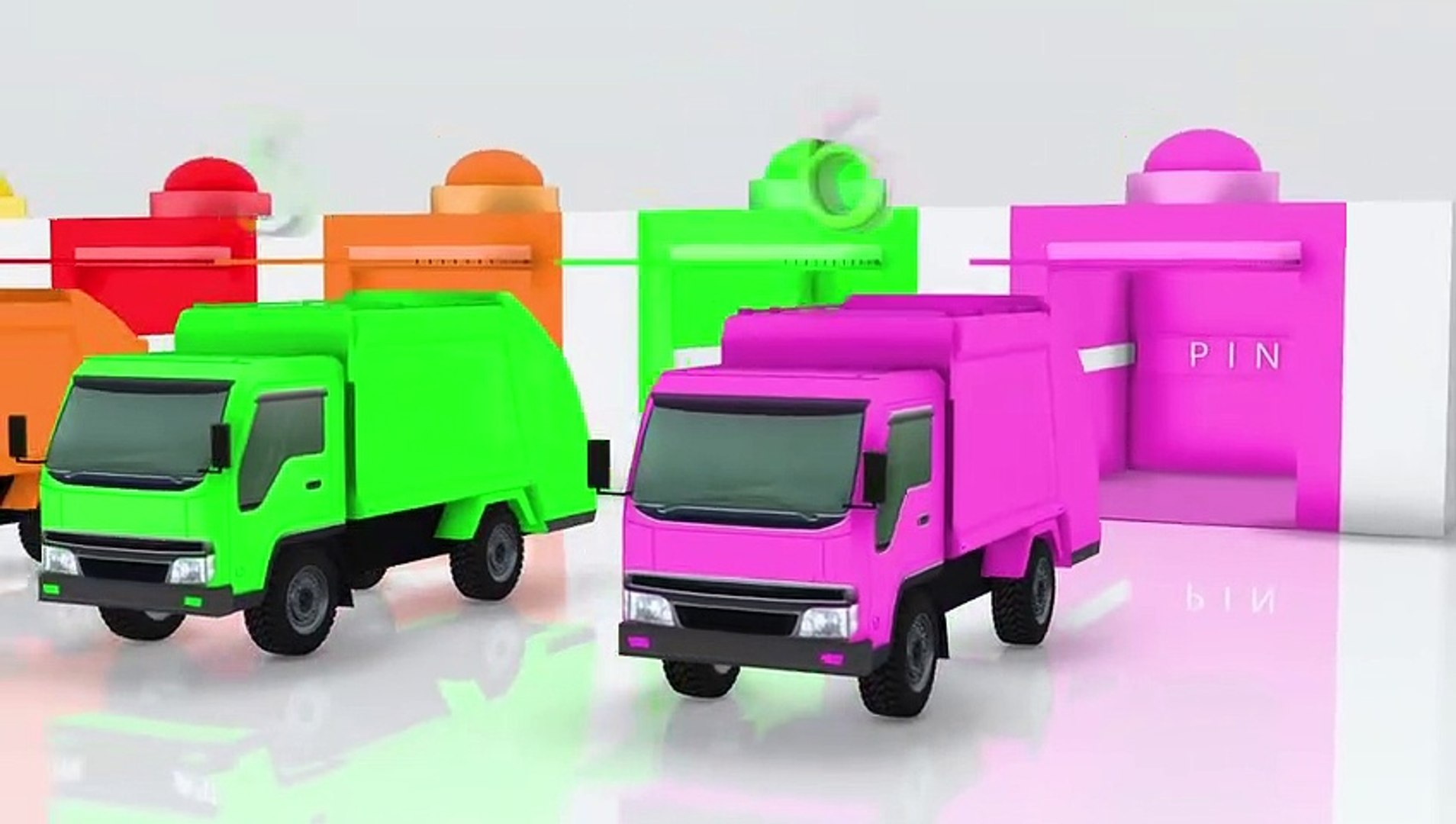 تعلم الألوان للأطفال مع شاحنات القمامة 3D المركبات - السيارات الألوان للأطفال - تعلم الفيديو