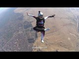 Woman Skydives Over Pyramids