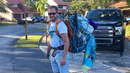 Runner Completes Marathon While Carrying 30 Pounds of Garbage On His Back
