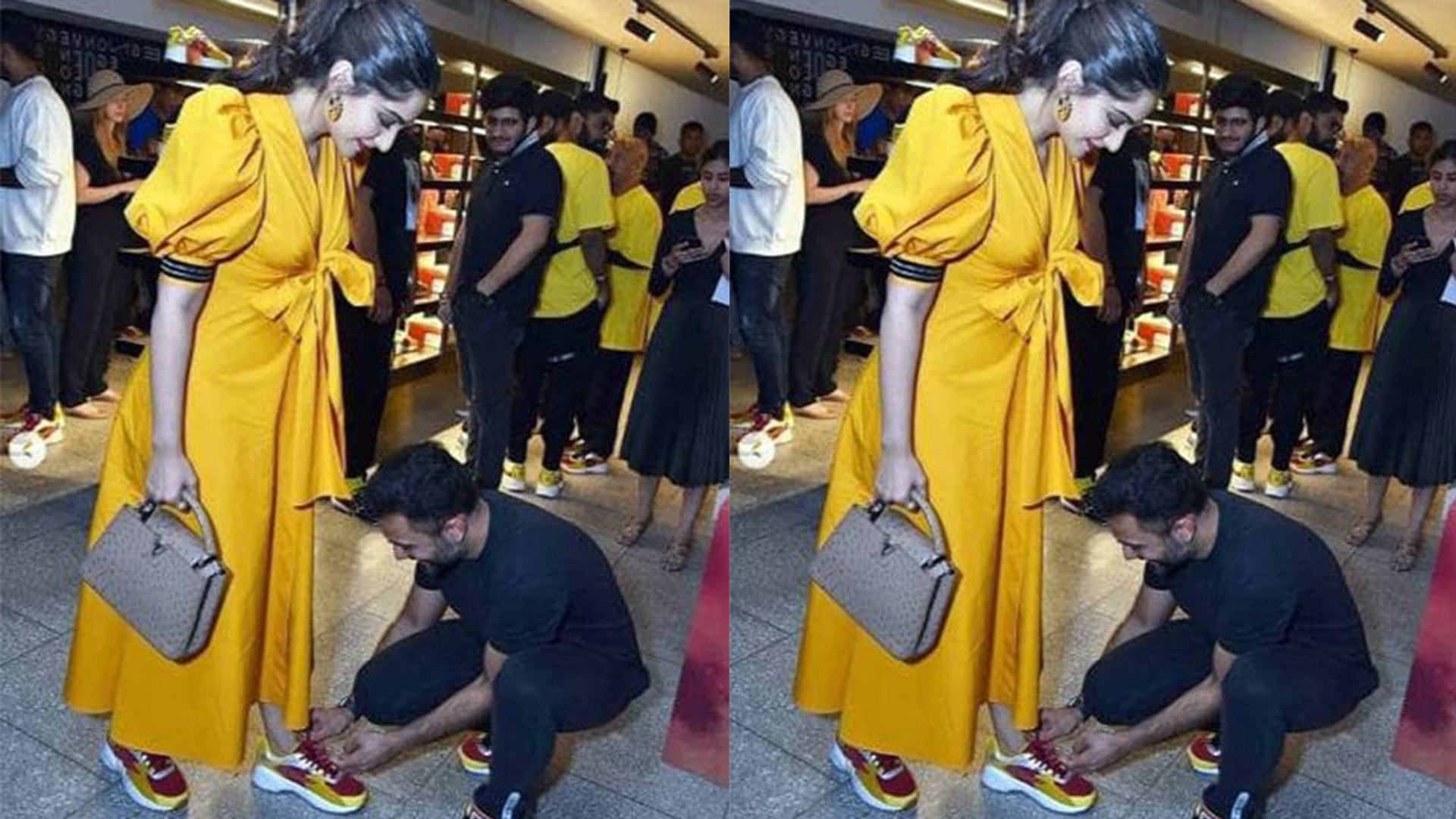 Sonam Kapoor's husband Anand Ahuja ties her shoelace in front of media; Check Out | FilmiBeat
