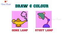 Genie Lamp Drawing and Colouring for kids  | Study Lamp drawing for children | Art Breeze # 11 | Learn Colouring and Drawing for kids - Viral Rocket
