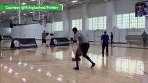 Embiid sinks three-pointer wearing Ugg slides