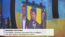 Ukrainian presidential campaign ends with heated debate in soccer stadium