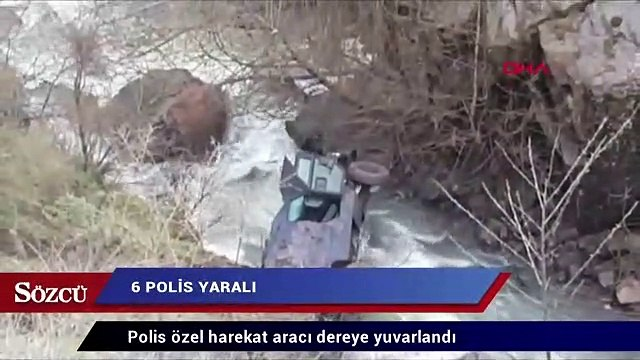 Polis aracı dereye yuvarlandı: 6 polis yaralı