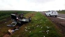 Duas pessoas são atendidas pelo Siate após colisão entre carros na BR-163