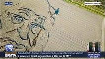 À quelques jours des 500 ans de Léonard de Vinci, il dessine son portrait dans un champ avec son tracteur
