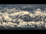 Aerial view of snow covered mountains in Ladakh