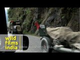 Army trucks on way to Indo-China border, in Sikkim