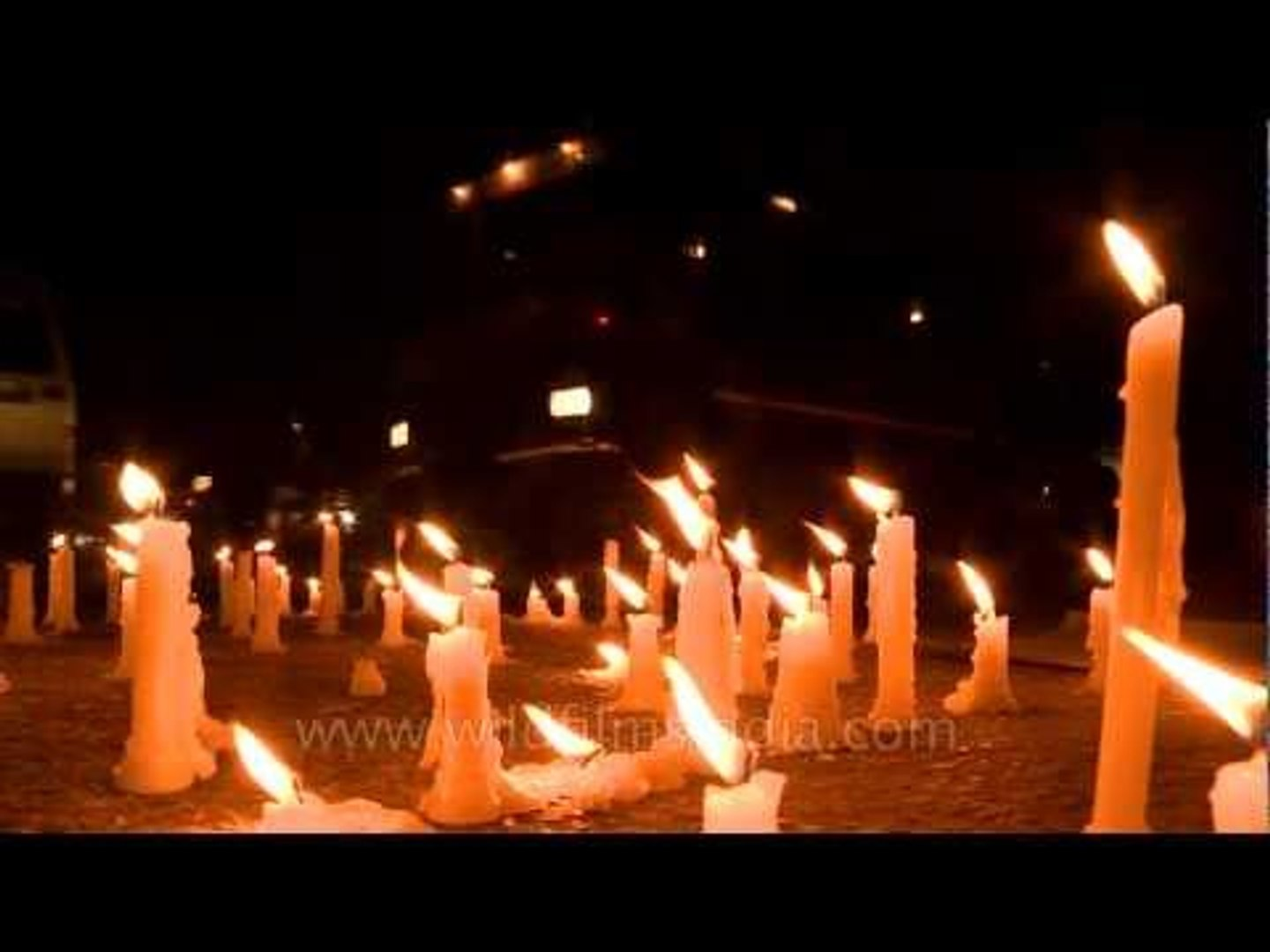 Melting candles and youth's demonstration against physical assault in Delhi