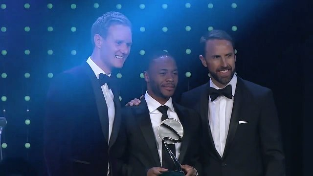 Raheem Sterling picks up award for fight against racism as Alex Scott calls on more players to speak up