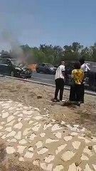 Urgent: Une voiture prend feu sur le péage