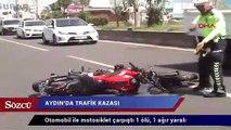 Otomobil ile motosiklet çarpıştı 1 ölü, 1 ağır yaralı