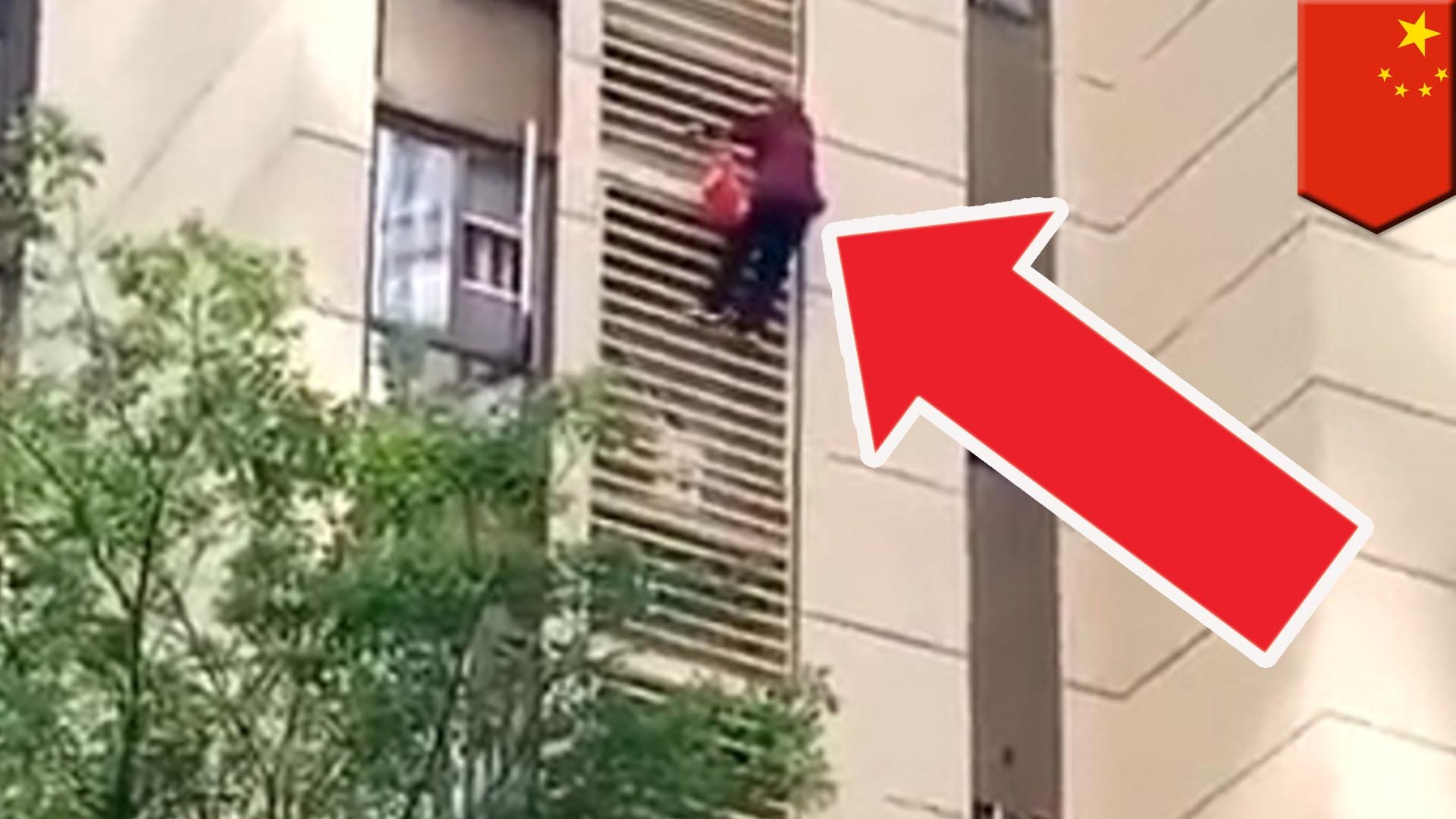 Chinese granny Spiderverses down high rise apartment