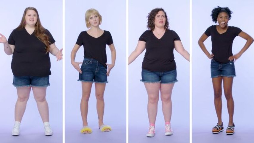 Women Sizes 0 Through 26 Try on the Same Pair of Jean Shorts