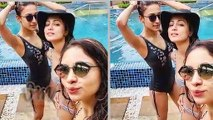 Hina Khan enjoys with Erica Fernandes And Pooja Banerjee in pool | Kasautii Zindagii Kay 2