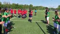 Coupe LAuRA Foot Féminine – La haie d'honneur des vainqueurs de l'AS SAINT-ETIENNE B aux vaincus du FC PONTCHARRA SAINT-LOUP
